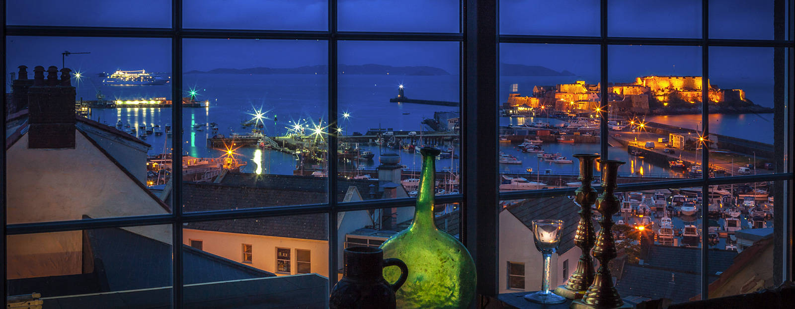 Window view over St. Peter Port harbour